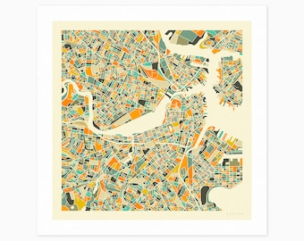 BOSTON MAP (Giclée Fine Art Print or Photo Paper Print) City Street Map by Jazzberry Blue (Unframed)