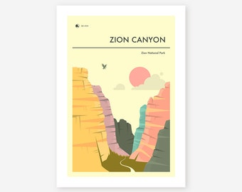 ZION NATIONAL PARK (Giclée Fine Art Print/Photo Print/Poster Print) 'Zion Canyon' by Jazzberry Blue