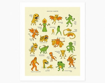 AMERICAN CRYPTIDS (Giclée Fine Art Print or Photo Paper Print) Cryptids of America by Jazzberry Blue (Unframed)