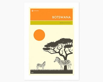 BOTSWANA TRAVEL POSTER (Giclée Fine Art Print or Photo Paper Print) by Jazzberry Blue (Unframed)