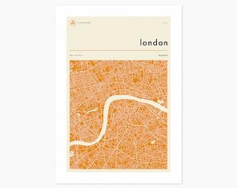 LONDON MAP (Giclée Fine Art Print or Photo Paper Print) Minimal City Street Map (Unframed)