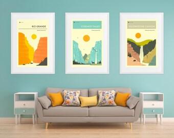 Set of 3 NATIONAL PARK Travel Posters (Giclée Fine Art Prints or Photo Paper Prints) (unframed)
