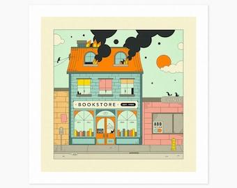 THE BOOKSTORE (Giclée Fine Art Print or Photo Paper Print) Retro, Urban, Pop Art by Jazzberry Blue (Unframed)
