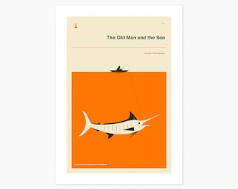 The Old Man And The Sea (Giclée Fine Art Print or Photo Paper Print) Minimal, Book Cover Pop Art (Unframed)