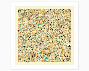 BERLIN MAP (Giclée Fine Art Print or Photo Paper Print) City Street Map by Jazzberry Blue (Unframed)