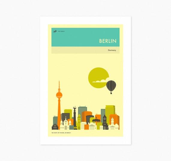 Berlin Travel Poster Fine Art Print City Skyline