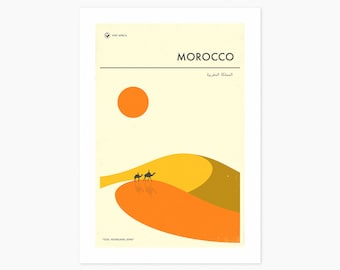 MOROCCO TRAVEL POSTER (Giclée Fine Art Print or Photo Paper Print) by Jazzberry Blue (Unframed)