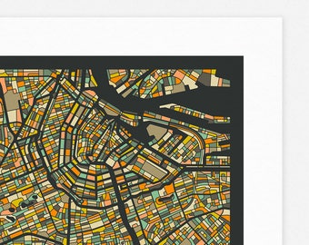 AMSTERDAM MAP (Giclée Fine Art Print/Photo Print/Poster Print) dark version