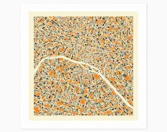 PARIS MAP (Giclée Fine Art Print or Photo Paper Print) City Street Map by Jazzberry Blue (Unframed)