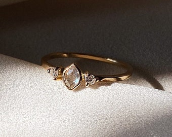 Rose Cut Champagne Marquise Diamond & Moissanite ring hand crafted in 14k yellow gold. Dainty Engagement, Wedding, Anniversary, Holiday Gift