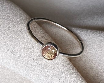 Tiny Erica Jewelry Petite Watermelon Tourmaline Stacking Ring Hand Crafted in Sterling Silver. Size 7. Birthday, Anniversary, Mother's Day.