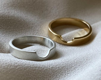 Crater Cutout Wedding Band Handcrafted in 14k Gold or Sterling Silver. Everyday stacking ring. Can be customized. Made to order (MTO).