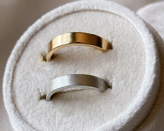 14k Gold or Sterling Silver Flat Wedding Band. Choose your width & finish! Customizable, Made to Order. Anniversary, Birthday, Holiday Gift
