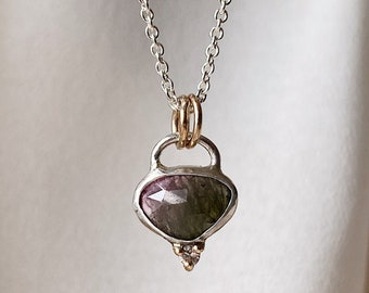 Deep, Saturated Green and Pink Watermelon Tourmaline Layering Necklace Handmade in Sterling Silver and 14k Yellow Gold. Mother's Day Gift.