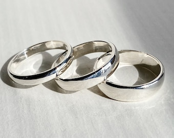 14k Gold or Sterling Silver Half Round Wedding Band. Choose your width. Choose a high polished or satin soft brush finish.