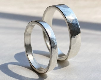 Planished Wedding Band Handcrafted in Sterling Silver or 14k Gold. Choose your width & finish: shiny polish vs matte satin finish. MTO.