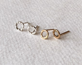 Hand Crafted Asymmetrical Hammered Circle Stud Earrings in 14k Gold or Sterling Silver. Polished, Light Catching Everyday Studs.