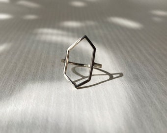 LAST CHANCE: Size 5 Lightweight Abstract Geometric Crystalline Outline Ring Hand Crafted in Sterling silver. One of a Kind & Ready to Ship.