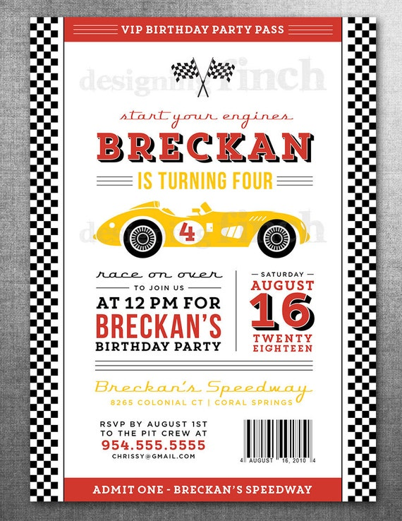 Race Car Birthday Invitation Card Ticket Racing