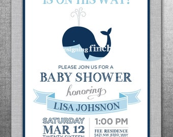 Whale Nautical Baby Shower Invitation, Customizable, Printable #152