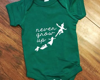 faebf034e Never Grow Up Bodysuit | Peter Pan Baby Outfit | Neverland | Second Star to  the Right | Tinkerbell | Wendy | The Lost Boys | Disney Infant