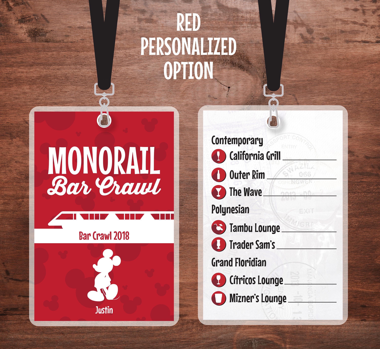 Monorail Bar Crawl Lanyard Walt Disney World Lanyard | Etsy