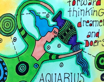 Aquarius. Zodiac Magnet -by- Carrie Disrud