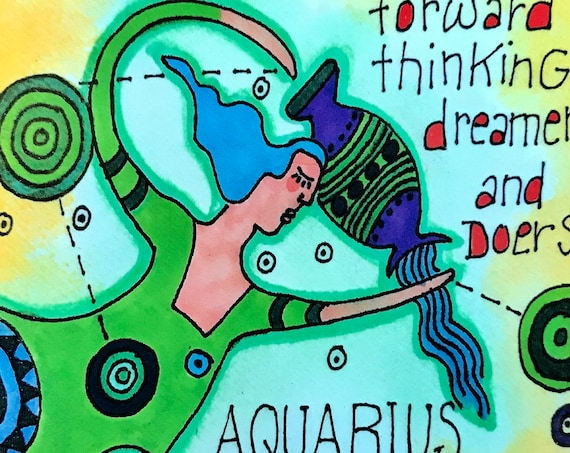 Aquarius. Zodiac Magnet -by- Carrie Disrud