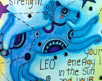 Leo. Zodiac Magnet -by- Carrie Disrud