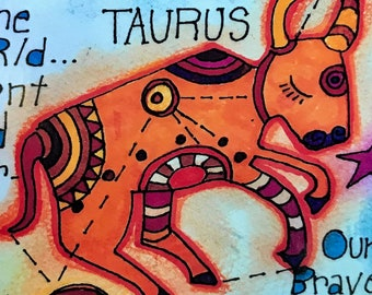 Taurus. Zodiac Magnet -by- Carrie Disrud