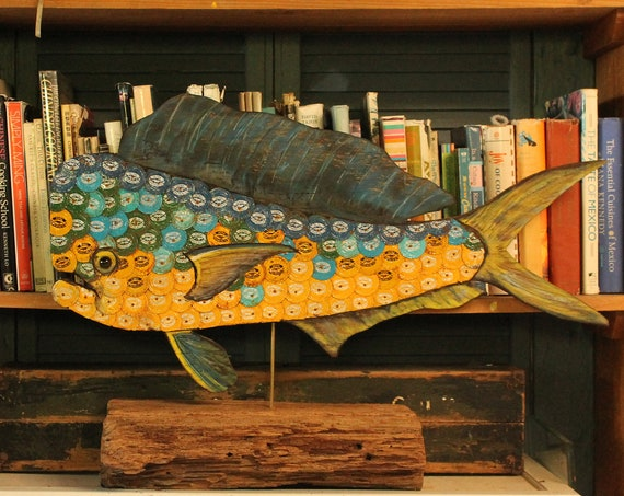 "30"" Bottle Cap Mahi-Mahi / Dolphin Fish Sculpture on Wood ~ Plywood/BottleCap Fish ~ Florida Keys Fish ~ Fishermen's Gift"