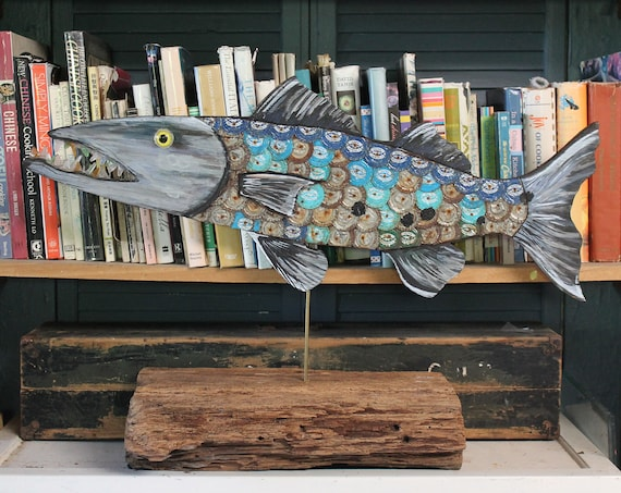 "28"" Bottle Cap Barracuda Sculpture on Wood ~ Plywood/BottleCap Fish ~ Florida Keys Fish ~ Fishermen's Gift"