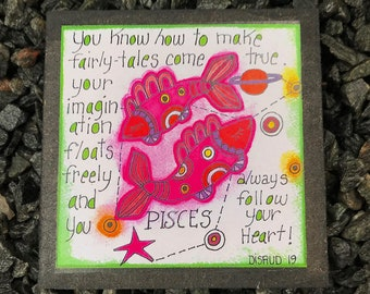Pisces. - Artful Zodiac Drink Coaster -by- Carrie Disrud