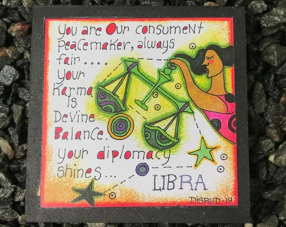 Libra. - Artful Zodiac Drink Coaster -by- Carrie Disrud