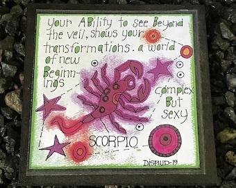 Scorpio. - Artful Zodiac Drink Coaster -by- Carrie Disrud