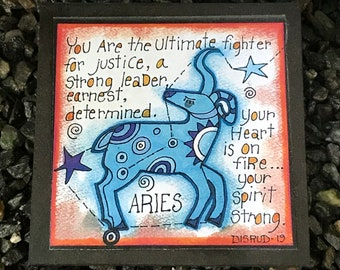 Aries. - Artful Zodiac Drink Coaster -by- Carrie Disrud