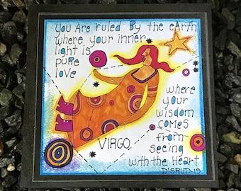 Virgo. - Artful Zodiac Drink Coaster -by- Carrie Disrud