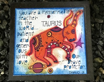 Taurus. - Artful Zodiac Drink Coaster -by- Carrie Disrud