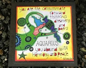 Aquarius. - Artful Zodiac Drink Coaster -by- Carrie Disrud