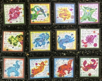 Artful Zodiac Drink Coasters - Full Set of 12 -by- Carrie Disrud