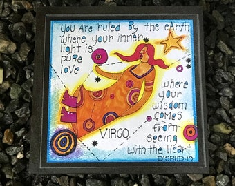 Virgo. - Artful Zodiac Drink Coaster -by- Carrie Disrud