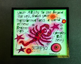 Scorpio. Zodiac Magnet -by- Carrie Disrud