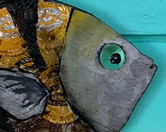 "8""in Bottle Cap Sergeant Major Sculpture on Wood ~ Plywood/BottleCap Fish ~ Florida Keys Fish ~ Fishermen's Gift"
