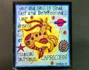 Capricorn. Zodiac Magnet -by- Carrie Disrud
