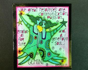 Gemini. Zodiac Magnet -by- Carrie Disrud