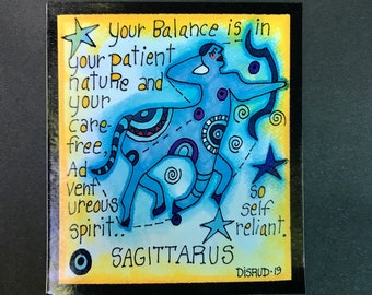 Sagittarus. Zodiac Magnet -by- Carrie Disrud