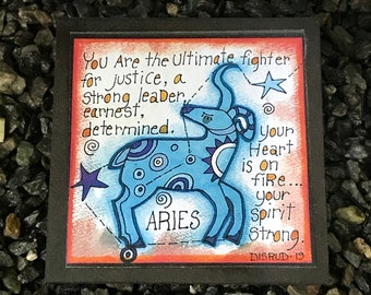 Aries. - Artful Zodiac Drink Coaster -by- Carrie Disrud