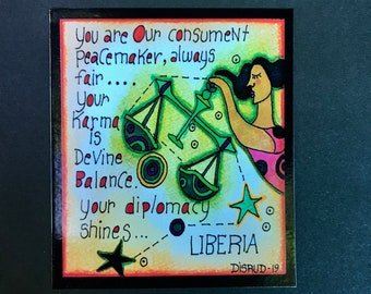 Liberia. Zodiac Magnet -by- Carrie Disrud