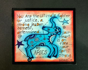 Aries. Zodiac Magnet -by- Carrie Disrud