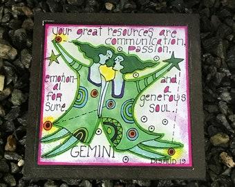 Gemini. - Artful Zodiac Drink Coaster -by- Carrie Disrud
